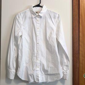 J Crew White Button Front Shirt- Size 8